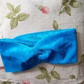 Дівчата, час оновити образ.Красива велюрова пов'язка на голову голубого кольору.
