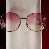 Большие круглые солнцезащитные очки Chloe, розовые, в золотой дизайнерской оправе