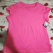 Женская розовая футболка 52р новая 100% хлопок
