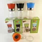 Мельница для перца и специй с стеклянным резервуаром, (цветная в индивидуальной упаковке)