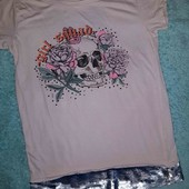 Оригинальная футболочка с пайетками-перевёртышами,от River Island, на девочку 9-10 лет
