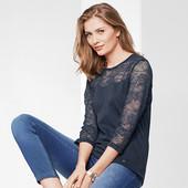 Модная, стильная блузка - реглан с кружевом Tchibo (германия) размер 40 евро=46-48