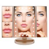 Многофункциональное зеркало для макияжа с Led подсветкой прямоугольное тройное. Розовое