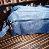 Косметичка мужская, синяя (джинс)