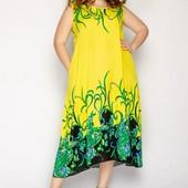 Красивые яркие натуральные платья р.50/52,54/56,58. Ткань натуральная - штапель. Цвета как на фото.