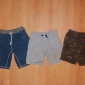 Без дефектов! Хлопковые шорты на лето!12 л и р 152 см!Лот 3 шт!
