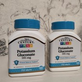 Глюконат калия, 595 мг, 110 таблеток, 21st Century,
