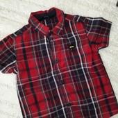 Лёгкая летняя рубашка в клетку короткие рукава для мальчика 1,5- 2 лет рост 86-92
