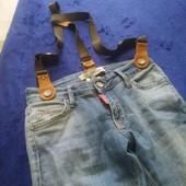Крутые джинсы с подтяжками р 140+++