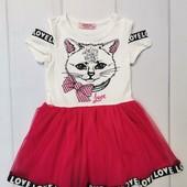 Платье с котиком Турция 4года