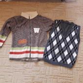 Шерстяной свитер +жилетка теплая, на мальчика 7-8 лет
