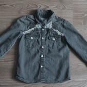 Стильная джинсовая рубашка с кружевом Denim Co 3-4(104) Сост.отл!