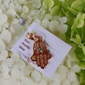 красивая подвеска на браслет или цепочку, оберег Хамса (рука Фатимы, Божья Рука), позолота 585 пробы