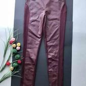 Крутые марсаловые кожаные штаны,легинсы,лосины с кожаными вставками