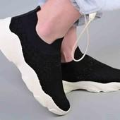 Кроссовки черные, текстильные, без шнурков. Мега распродажа!!!