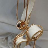 шикарный зеркальный кулон - бусинка, позолота 585 пробы