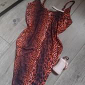 Бомбезное платье леопард яркий