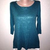 Красивая блуза в паетках размер 44-48 замеры на фото