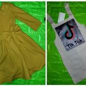 Комплект из 2х вещей: платье с рукавом 3/4 и сарафан Лен Тик ток на рост 122