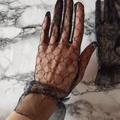 Чёрные кружевные перчатки.романтичные, нежные перчатки.два вида. перчатки- сетка.