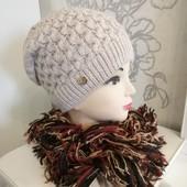 Теплая шапочка на полном флисе Шарф в подарок