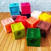 Набор сенсорных тактильных кубиков 12 шт   Кубики-конструкт для младенца   Развивающие силиконовые 3