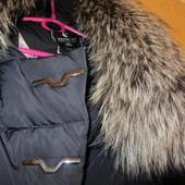 Куртка,пуховик зимняя для пышных форм или беременных.Ворот чернобурка.