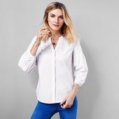 Белая блузка- рубашка с воздушным рукавом из био-хлопка Tchibo (германия), размер 44