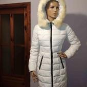 Белоснежный пуховик аляска с молнией по спинке. Пальто-одеяло.100% пух