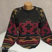 Теплый мужской свитер с орнаментом 52 размер