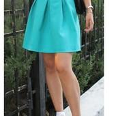 Новая юбка с габардина цвета голубая мята, S