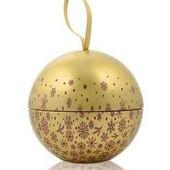 Новогодний металлический шар-шкатулка ив роше. 11 см диаметр yves rocher