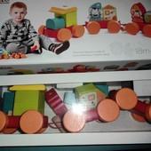 уп бесплатно Деревянный Сказочный Поезд конструктор каталка Cubika 14002 кубика