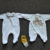 Человечки для новорожденных р. 50-56 2 шт. + новые носочки