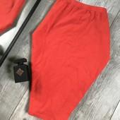 Бомбическая юбка миди карандаш цвет корал