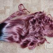 Шикарный парик омбре черно- красные тона, 65см, кудри!