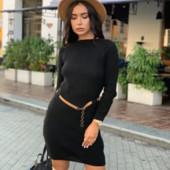 Мега крутое вязаное платье р универсальный 42-50, пояс в комплекте, три цвета