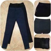 Бедра 110-140 см * Теплые джинсы джеггинсы на меху