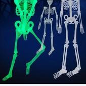 Скелет фосфорный подвесной 33 см светится в темноте - декорация .1шт.