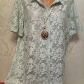 На пышные формы! Шикарная новая нарядная ажурная блуза с внутренней маечкой Акция читайте