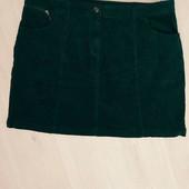 Классная изумрудная микро вельветовая юбка р-р 18
