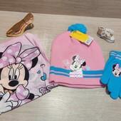 Польша!!! Демисезонный красивый набор для девочки! Шапка, хомут и перчатки! 3-6 лет!