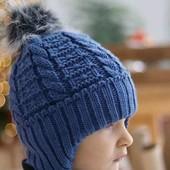 Утепленная детская шапка от 2 лет