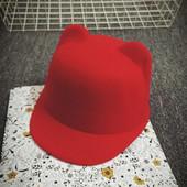 """Новая фетровая шляпка жокейка с ушками"""" кошечка"""""""