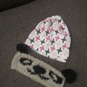 Трикотажная двойная шапка +вязаная повязка. На обьем 50-54см
