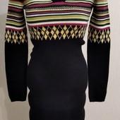 теплое платье с орнаментом, размер XХS-XS. шерсть.